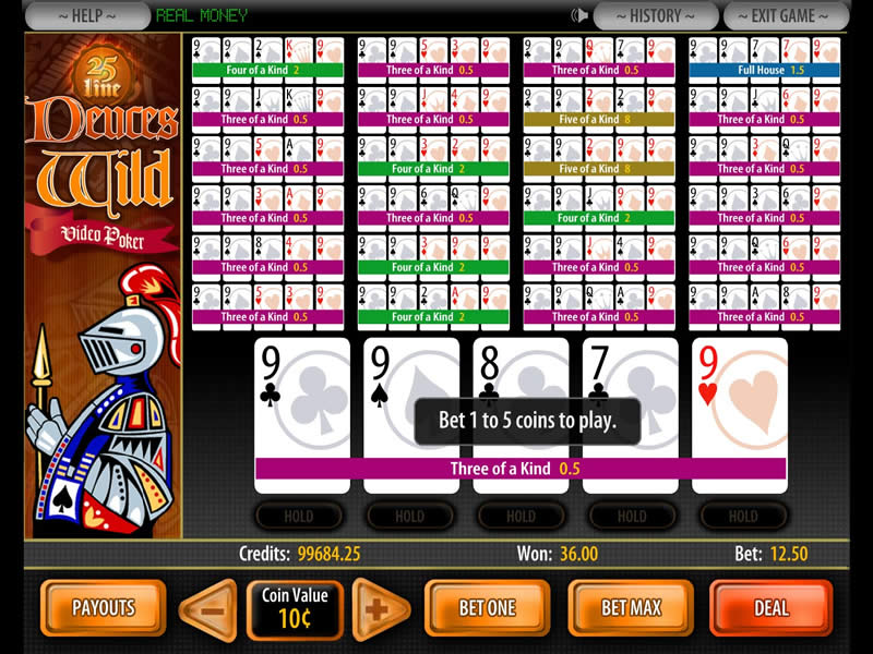 deuces wild video poker free